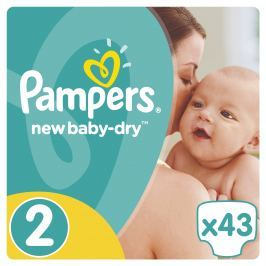Pampers New Baby-Dry pleny 2 Mini, 3-6 kg 43 ks